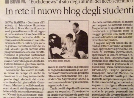 In Rete il Blog Euclide News (Quotidiano)